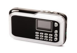Modern black radio receiver isolated on a white background