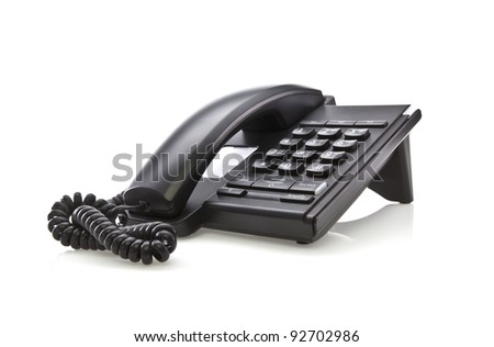 Modern black telephone handset on white