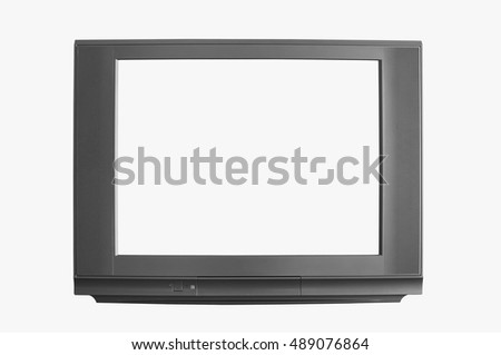 modern blank black television or tv and white screen display on white background, isolated included clipping path display and body