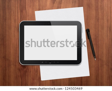 Modern blank digital tablet with papers and pen on a wooden desk. Top view. High quality detailed graphic collage.