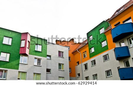 Modern block of flats, colorful and peaceful, idyllic view, an ideal place to live in; isolated - stock photo