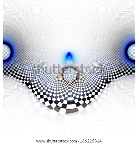 Modern blue and black abstract curved checkered grunge design on white background