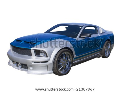 modern blue and silver muscle car isolated on white