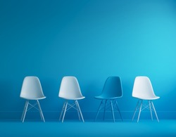 Modern blue and white chairs standing in interior empty blue room for copy space. minimal space.