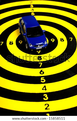 modern blue car on a target - stock photo