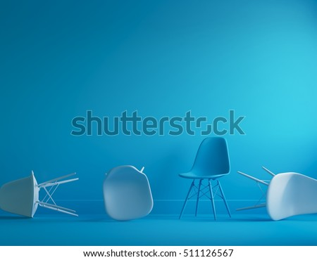 Modern blue chair standing in interior empty blue room for copy space. minimal space. #511126567