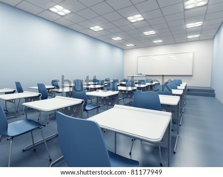 modern blue classroom. 3d rendering
