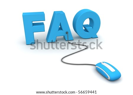 modern blue computer mouse connected to the blue word FAQ
