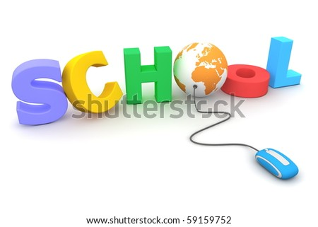 modern blue computer mouse connected to the colourful and jumbled word School - letter O is replaced by an orange globe
