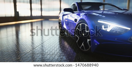 Modern blue coupe sports car in showroom with big windows. Front view. 3D illustration Photo stock ©