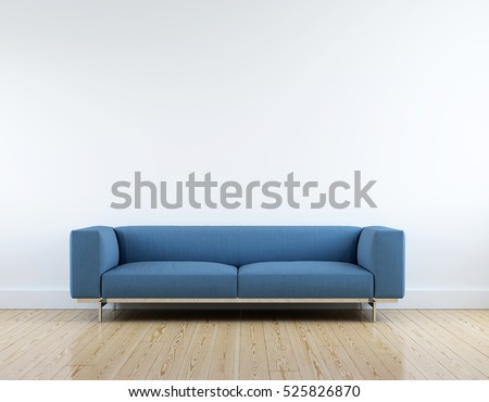 Modern blue fabric sofa in white room interior parquet wood floor. #525826870