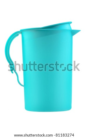 modern blue plastic pitcher isolated on white background