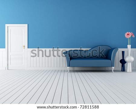 modern blue sofa in a retro interior with plank wood floor-rendering