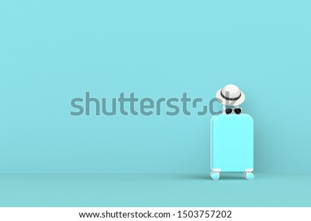 Modern blue suitcases bag with sun glasses and hat on blue background. Travel concept. Vacation trip. Copy space. Minimal style. 3D rendering illustration
