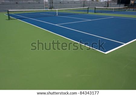 Modern Blue Tennis Court - stock photo