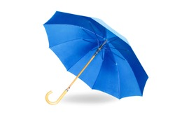 Modern blue umbrella isolated on white background with shadow.
