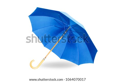 Modern blue umbrella isolated on white background with shadow. #1064070017