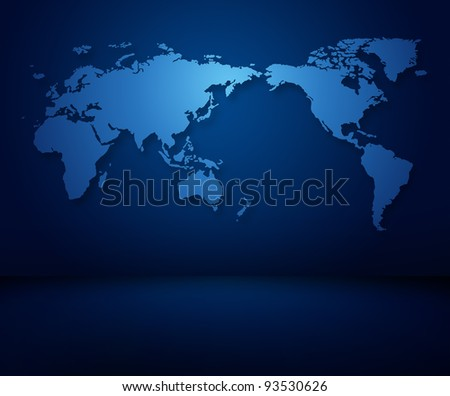 Modern blue world map of wallpaper in a dark modern room