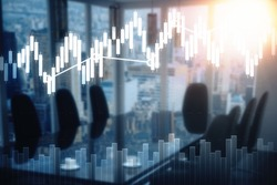 Modern blurry conference room with equipment, city view and forex chart. Economy concept. Double exposure