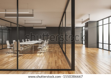 Modern boarding room interior with city view, wooden floor and daylight. 3D Rendering