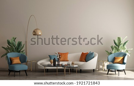 Modern Boho living room interior style. Empty wall mock up. Wall art. wall background. 3d rendering, 3d illustration