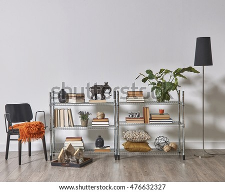 modern bookcase and accessories and frame wall concept room decoration #476632327
