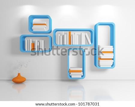 Modern bookshelf.3d rendered.
