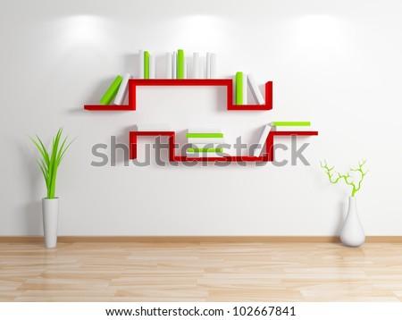 Modern bookshelf.Isolated on white background.3d rendered.