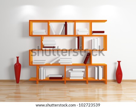 Modern bookshelf.Isolated on white background.3d rendered.