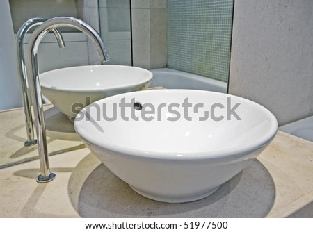 modern bowl shape ceramic hand wash basin with designer water tap