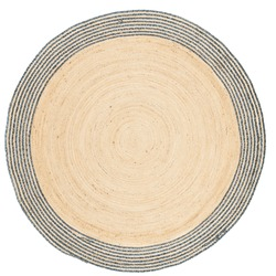 Modern braided round beige jute carpet with a floral pattern