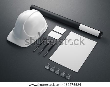 Modern branding mockup with white helmet. 3d rendering
