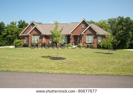 Modern brick two story rural house in USA.