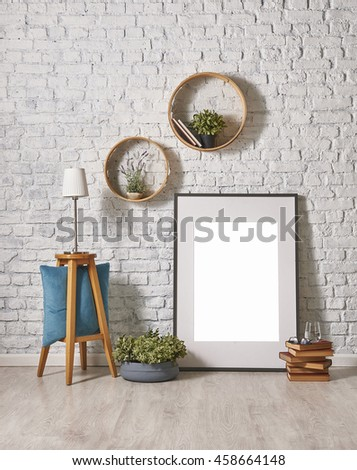 modern brick wall decor with round frame