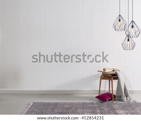 modern brick wall interior purple pillow and lamp decor #452854231