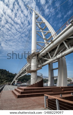 modern bridge and modern architecture
