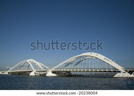 Modern bridge. Bridge to IJburg, Amsterdam (Enneüs Heerma Bridge)