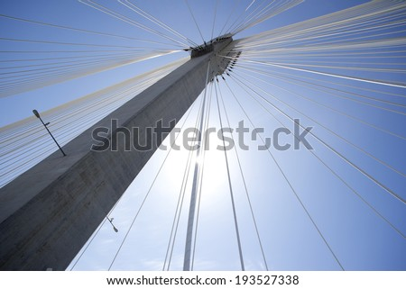 Modern bridge construction, wires in the sky #193527338