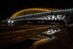 Modern bridge lights to night