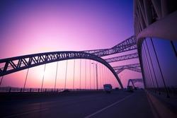 modern bridge on the sunset background outdoor.