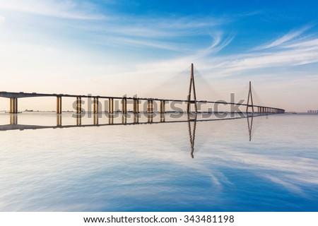 modern bridge over the Yangtze River at sunset. #343481198