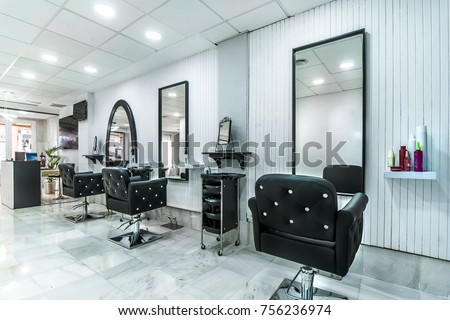 Modern bright beauty salon. Hair salon interior business