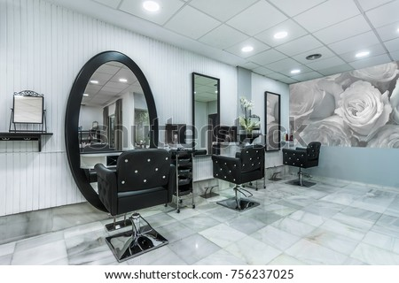 Modern bright beauty salon. Hair salon interior business #756237025