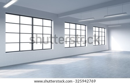 Modern bright clean interior of a loft style open space. Huge windows and white walls. Copy space the panoramic windows. 3D rendering.