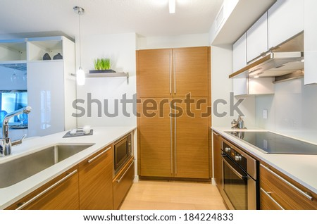 Modern, bright, clean, kitchen interior with stainless steel appliances and wooden cabinets in a luxury house