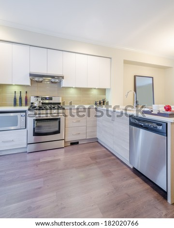 Modern bright clean kitchen interior with stainless steel appliances in a luxury house