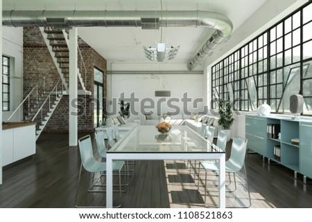 modern bright dining room in loft interior design 3d Illustration