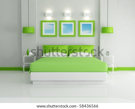 modern  bright green bedroom  - rendering - the art pictures on wall are my photo