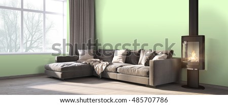 Modern bright interior . 3D render #485707786