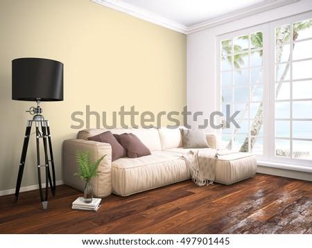 Modern bright interior . 3D rendering #497901445